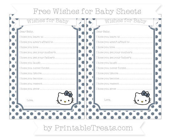 Free Slate Grey Dotted Pattern Hello Kitty Wishes for Baby Sheets