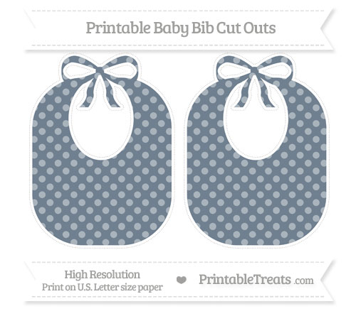 Free Slate Grey Dotted Pattern Large Baby Bib Cut Outs