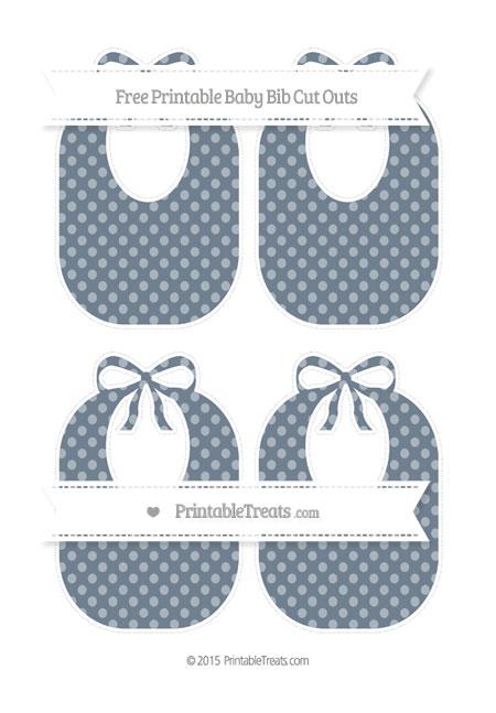 Free Slate Grey Dotted Pattern Medium Baby Bib Cut Outs