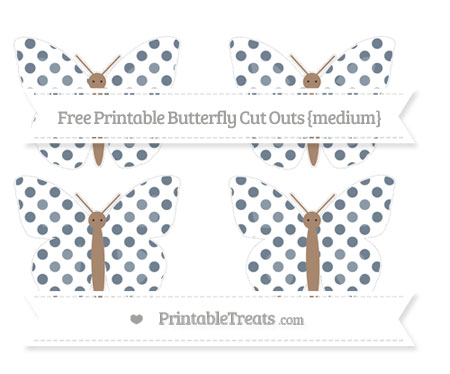 Free Slate Grey Dotted Pattern Medium Butterfly Cut Outs