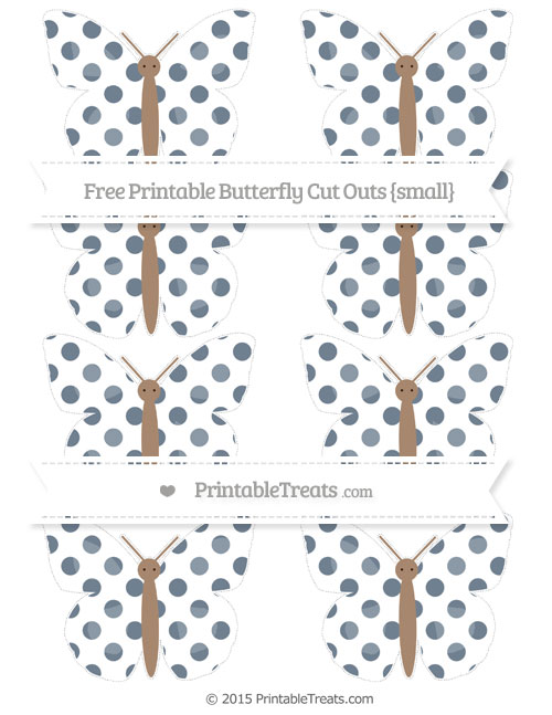 Free Slate Grey Dotted Pattern Small Butterfly Cut Outs