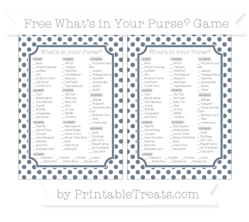 Free Slate Grey Dotted Pattern What's in Your Purse Baby Shower Game