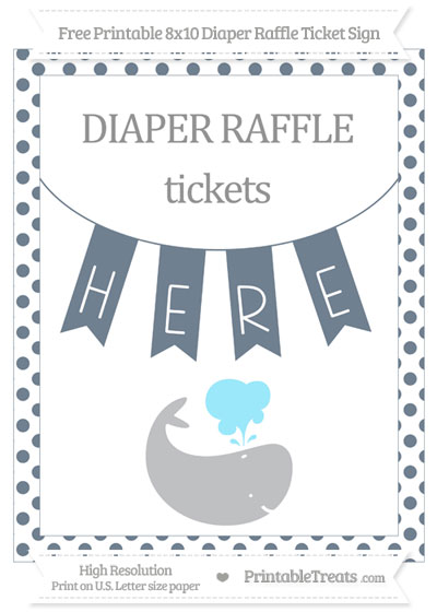 Free Slate Grey Dotted Whale 8x10 Diaper Raffle Ticket Sign