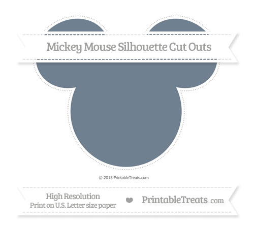 Free Slate Grey Extra Large Mickey Mouse Silhouette Cut Outs