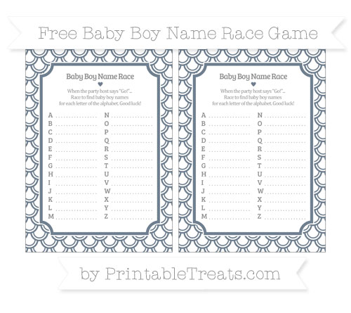 Free Slate Grey Fish Scale Pattern Baby Boy Name Race Game