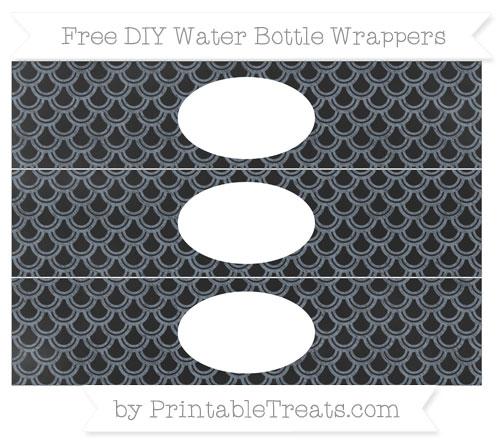 Free Slate Grey Fish Scale Pattern Chalk Style DIY Water Bottle Wrappers