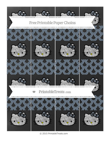 Free Slate Grey Fish Scale Pattern Chalk Style Hello Kitty Paper Chains