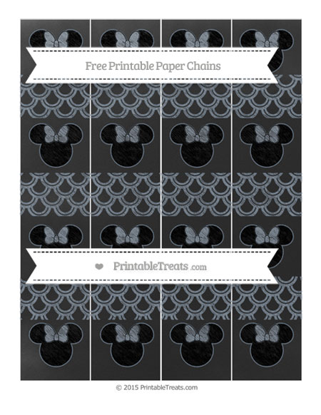 Free Slate Grey Fish Scale Pattern Chalk Style Minnie Mouse Paper Chains