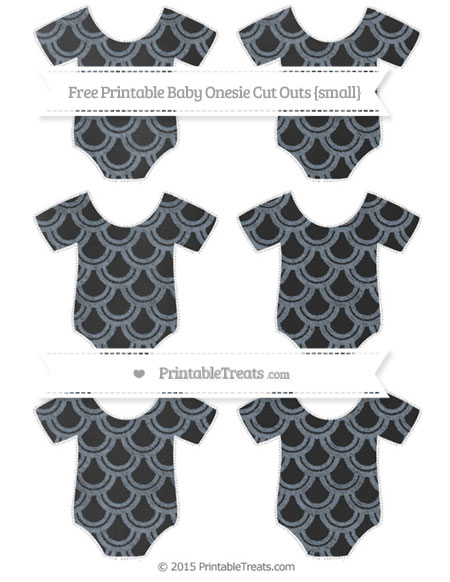 Free Slate Grey Fish Scale Pattern Chalk Style Small Baby Onesie Cut Outs