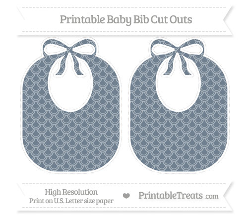 Free Slate Grey Fish Scale Pattern Large Baby Bib Cut Outs