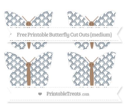 Free Slate Grey Fish Scale Pattern Medium Butterfly Cut Outs