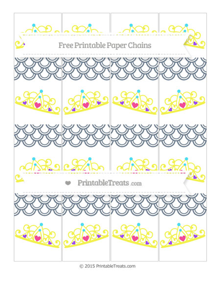 Free Slate Grey Fish Scale Pattern Princess Tiara Paper Chains