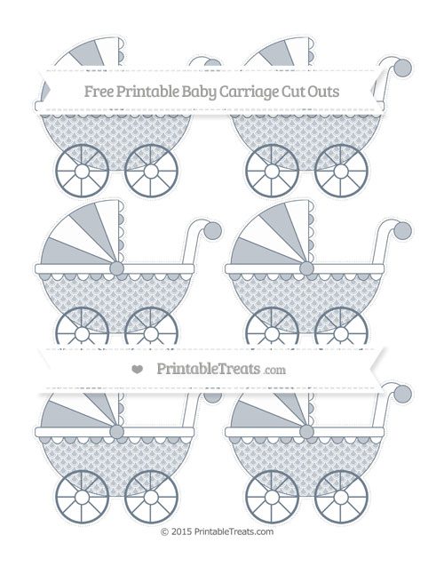 Free Slate Grey Fish Scale Pattern Small Baby Carriage Cut Outs