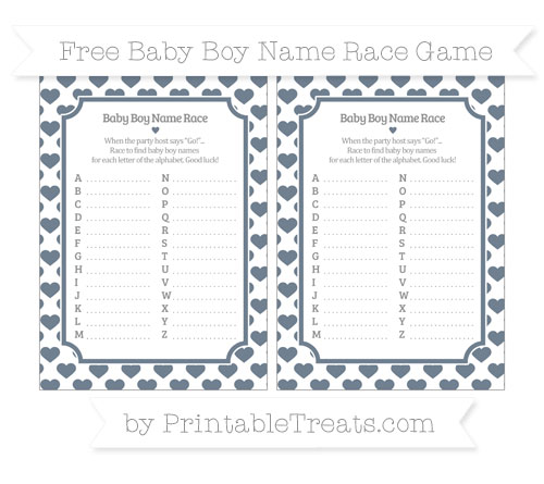 Free Slate Grey Heart Pattern Baby Boy Name Race Game