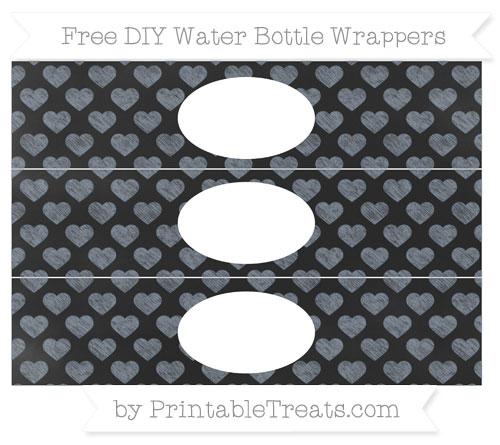 Free Slate Grey Heart Pattern Chalk Style DIY Water Bottle Wrappers