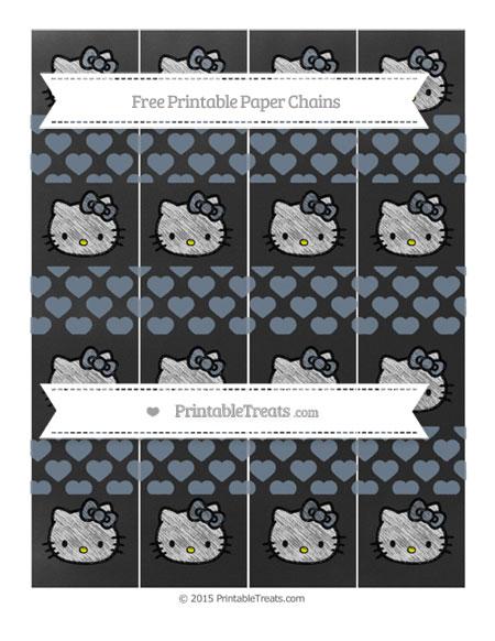 Free Slate Grey Heart Pattern Chalk Style Hello Kitty Paper Chains