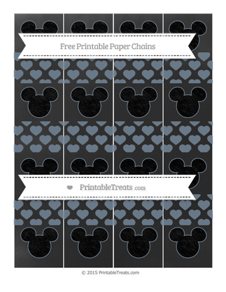 Free Slate Grey Heart Pattern Chalk Style Mickey Mouse Paper Chains