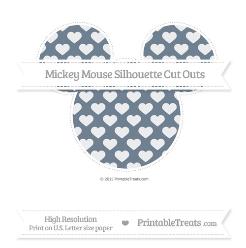 Free Slate Grey Heart Pattern Extra Large Mickey Mouse Silhouette Cut Outs