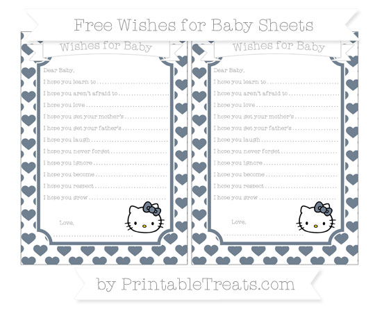 Free Slate Grey Heart Pattern Hello Kitty Wishes for Baby Sheets