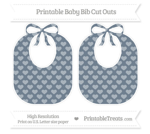 Free Slate Grey Heart Pattern Large Baby Bib Cut Outs