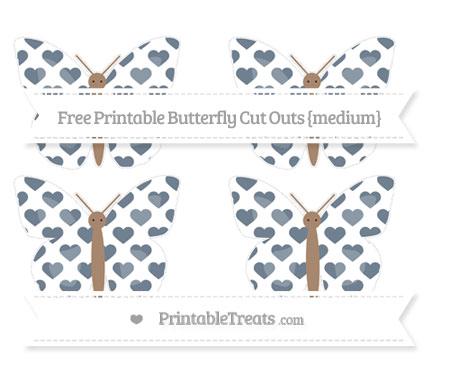 Free Slate Grey Heart Pattern Medium Butterfly Cut Outs