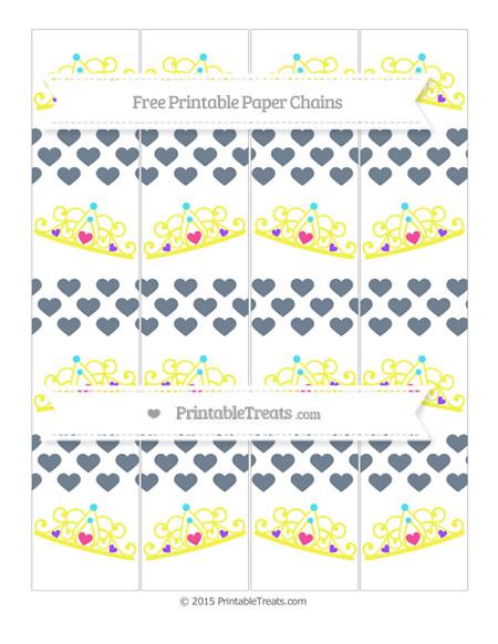 Free Slate Grey Heart Pattern Princess Tiara Paper Chains