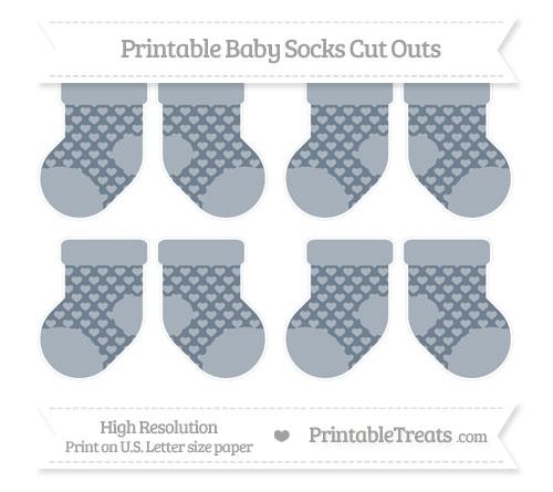 Free Slate Grey Heart Pattern Small Baby Socks Cut Outs