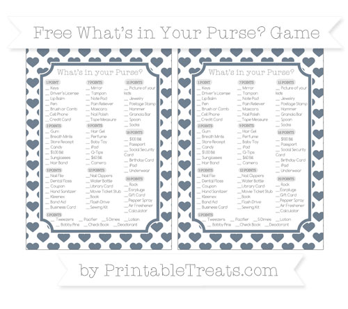 Free Slate Grey Heart Pattern What's in Your Purse Baby Shower Game