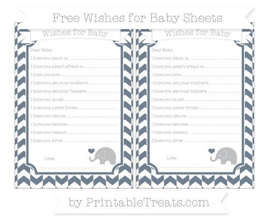 Free Slate Grey Herringbone Pattern Baby Elephant Wishes for Baby Sheets