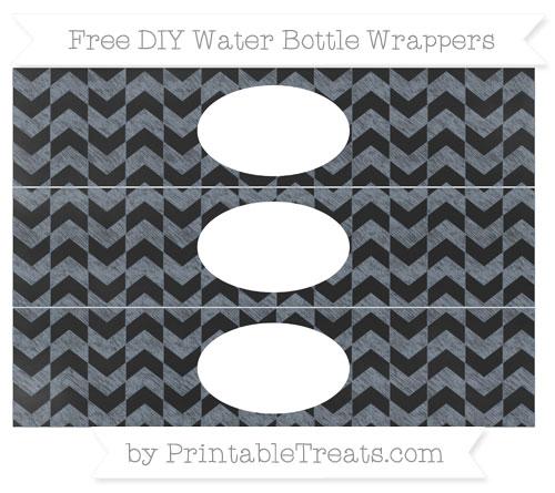 Free Slate Grey Herringbone Pattern Chalk Style DIY Water Bottle Wrappers