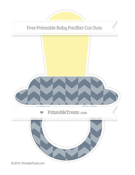Free Slate Grey Herringbone Pattern Extra Large Baby Pacifier Cut Outs