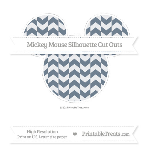 Free Slate Grey Herringbone Pattern Extra Large Mickey Mouse Silhouette Cut Outs
