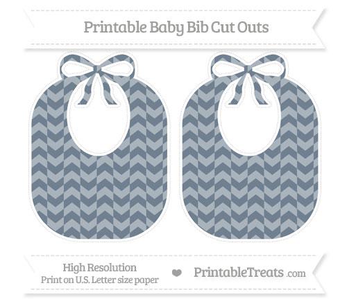 Free Slate Grey Herringbone Pattern Large Baby Bib Cut Outs