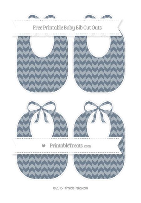 Free Slate Grey Herringbone Pattern Medium Baby Bib Cut Outs