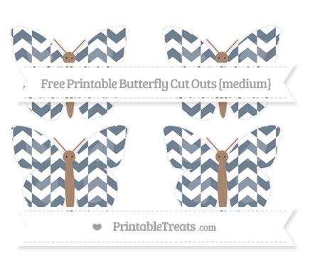 Free Slate Grey Herringbone Pattern Medium Butterfly Cut Outs