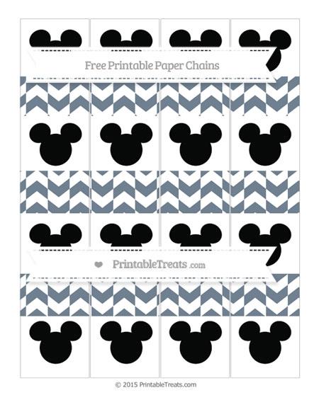 Free Slate Grey Herringbone Pattern Mickey Mouse Paper Chains