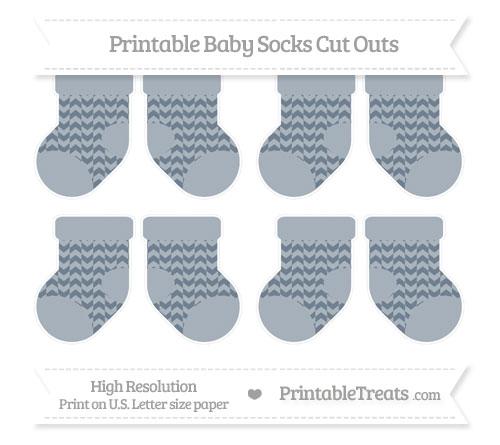Free Slate Grey Herringbone Pattern Small Baby Socks Cut Outs