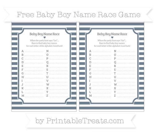 Free Slate Grey Horizontal Striped Baby Boy Name Race Game