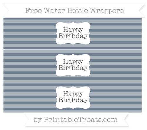 Free Slate Grey Horizontal Striped Happy Birhtday Water Bottle Wrappers