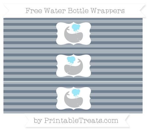 Free Slate Grey Horizontal Striped Whale Water Bottle Wrappers