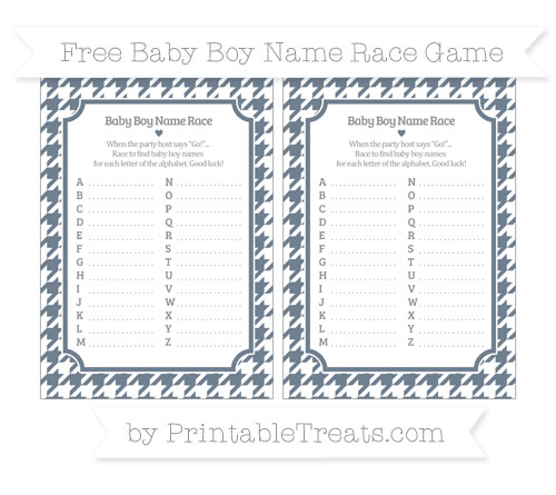 Free Slate Grey Houndstooth Pattern Baby Boy Name Race Game
