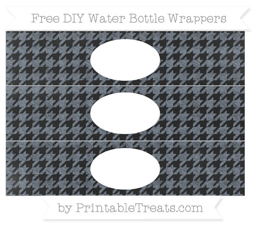 Free Slate Grey Houndstooth Pattern Chalk Style DIY Water Bottle Wrappers