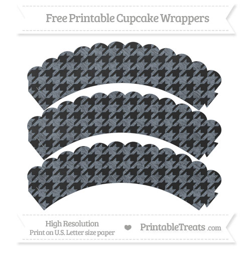 Free Slate Grey Houndstooth Pattern Chalk Style Scalloped Cupcake Wrappers