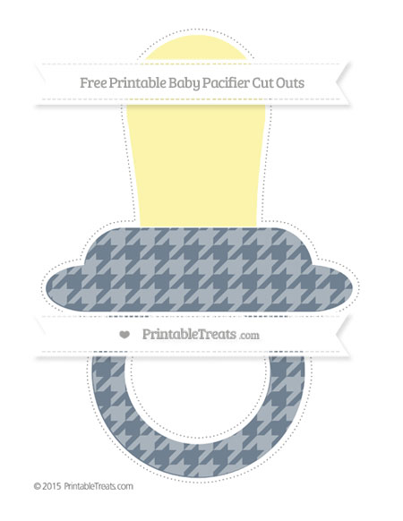 Free Slate Grey Houndstooth Pattern Extra Large Baby Pacifier Cut Outs