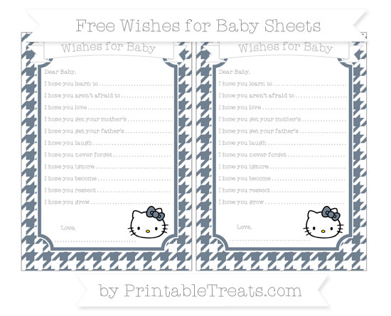 Free Slate Grey Houndstooth Pattern Hello Kitty Wishes for Baby Sheets