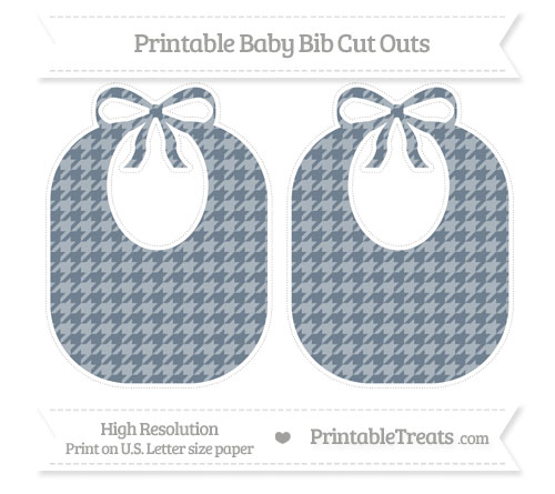 Free Slate Grey Houndstooth Pattern Large Baby Bib Cut Outs