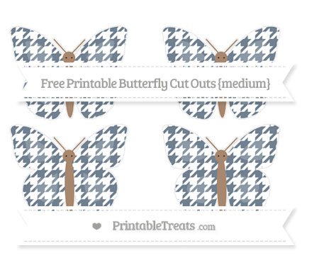 Free Slate Grey Houndstooth Pattern Medium Butterfly Cut Outs