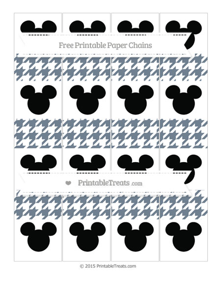 Free Slate Grey Houndstooth Pattern Mickey Mouse Paper Chains