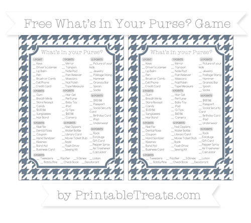 Free Slate Grey Houndstooth Pattern What's in Your Purse Baby Shower Game