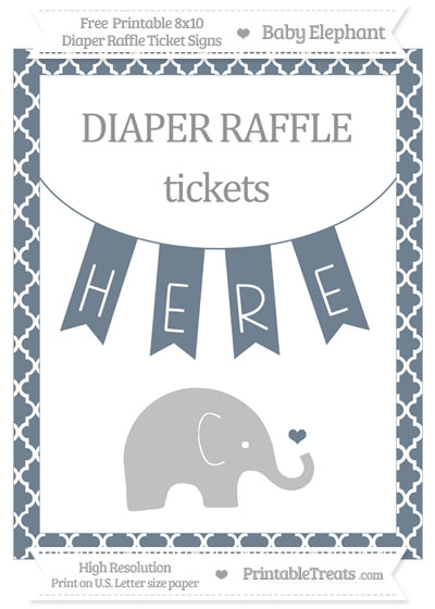 Free Slate Grey Moroccan Tile Baby Elephant 8x10 Diaper Raffle Ticket Sign